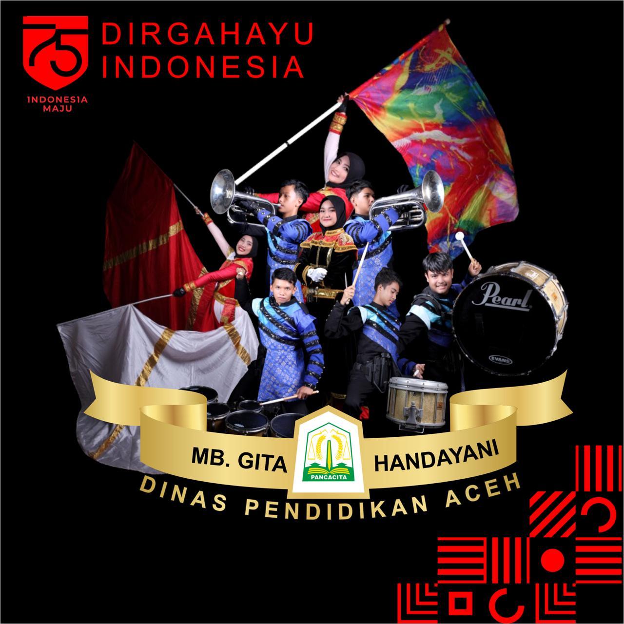Pada HUT ke 75 RI, Marching Band Gita Handayani Tampil Memukau